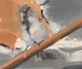 Sparrow on the scrap heap painting by Esther Tyson