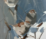 Farm sparrows painting by Esther Tyson